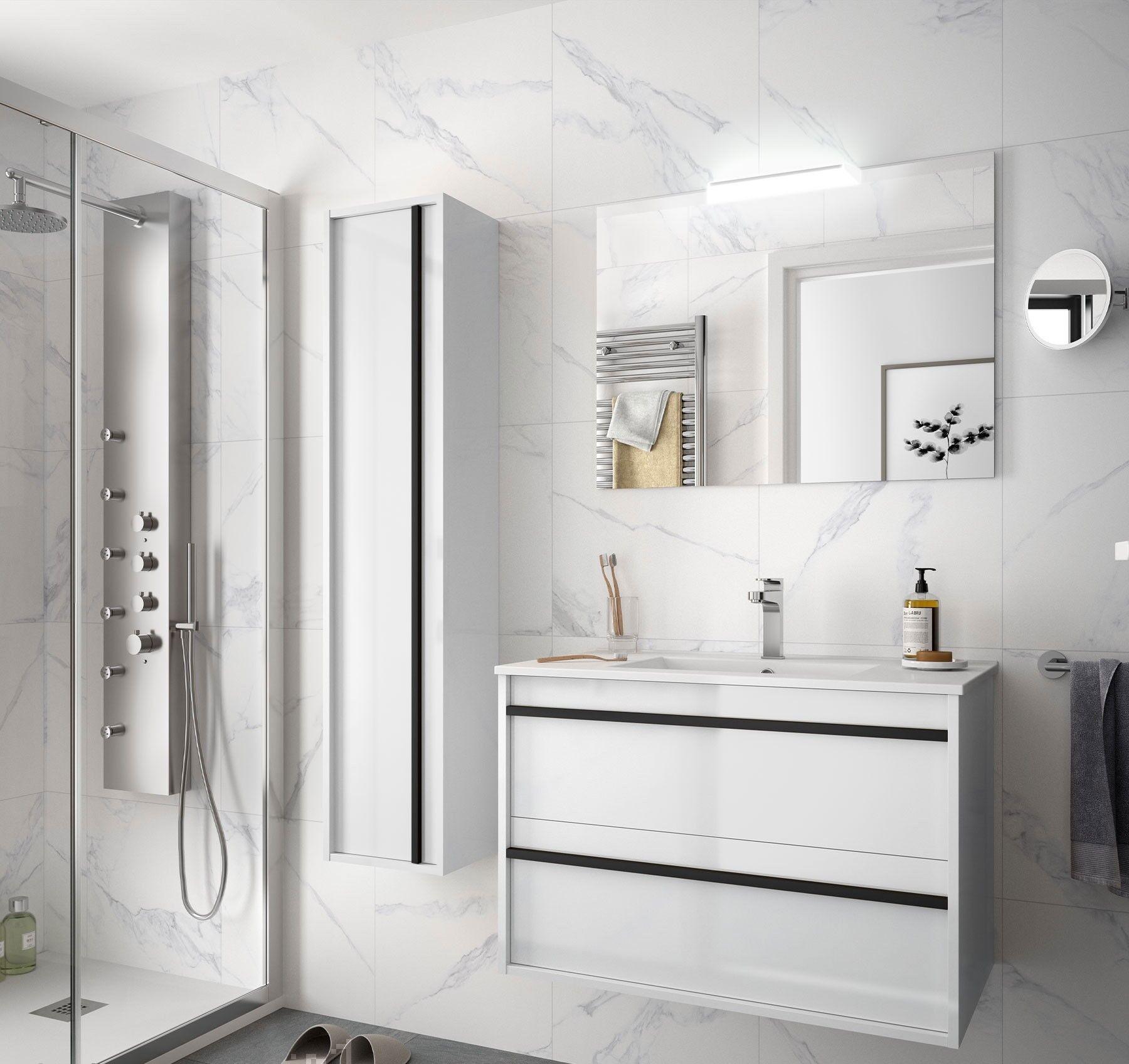 Caesaroo Mobile bagno sospeso 80 cm Nevada in legno Bianco lucido con lavabo in porcellana   80 cm - Con specchio e lampada LED