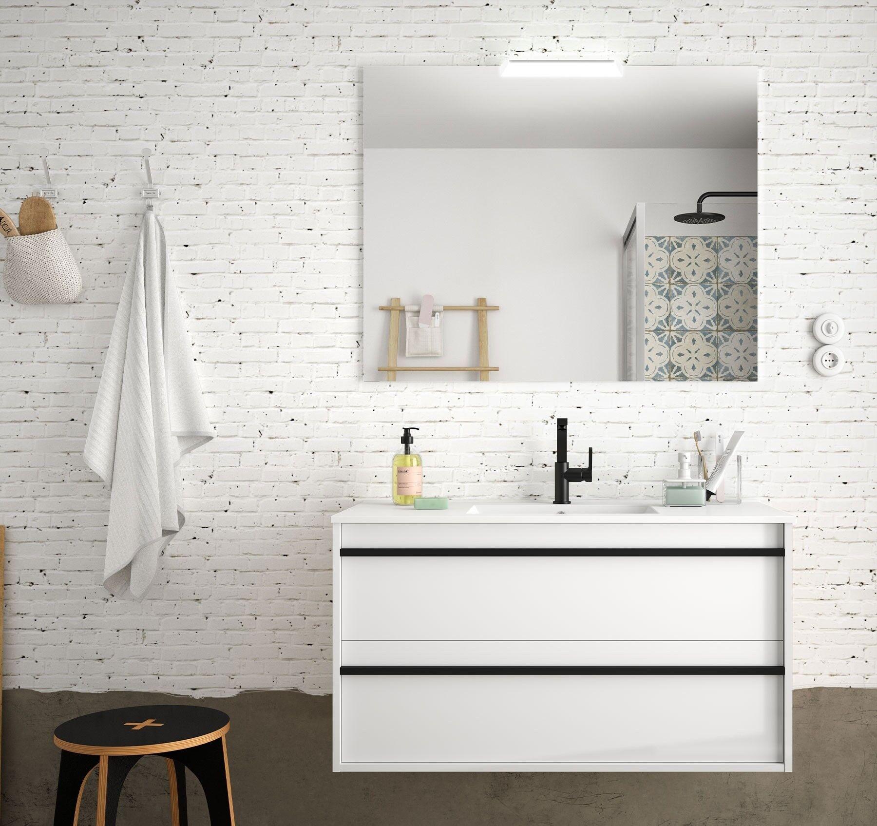 caesaroo mobile bagno sospeso 100 cm nevada in legno bianco lucido con lavabo in porcellana   100 cm - con specchio e lampada led
