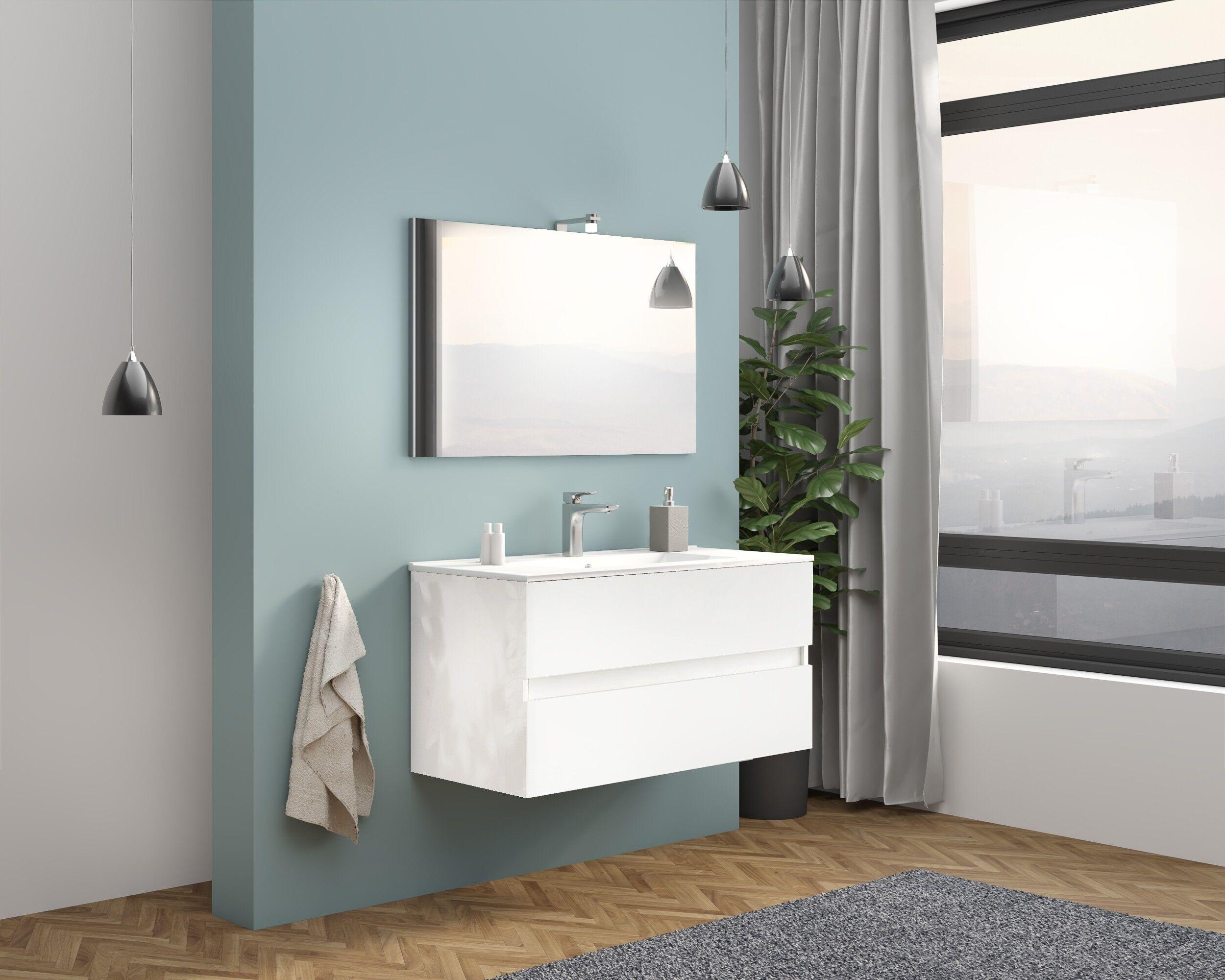 Caesaroo Mobile bagno sospeso 100 cm Boston in legno Bianco Lucido con Lavabo in ceramica Con specchio e lampada LED