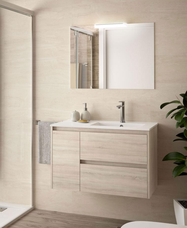 Caesaroo Mobile bagno sospeso 85 cm in legno marrone Caledonia con lavabo vasca destra Con colonna, specchio e lampada LED