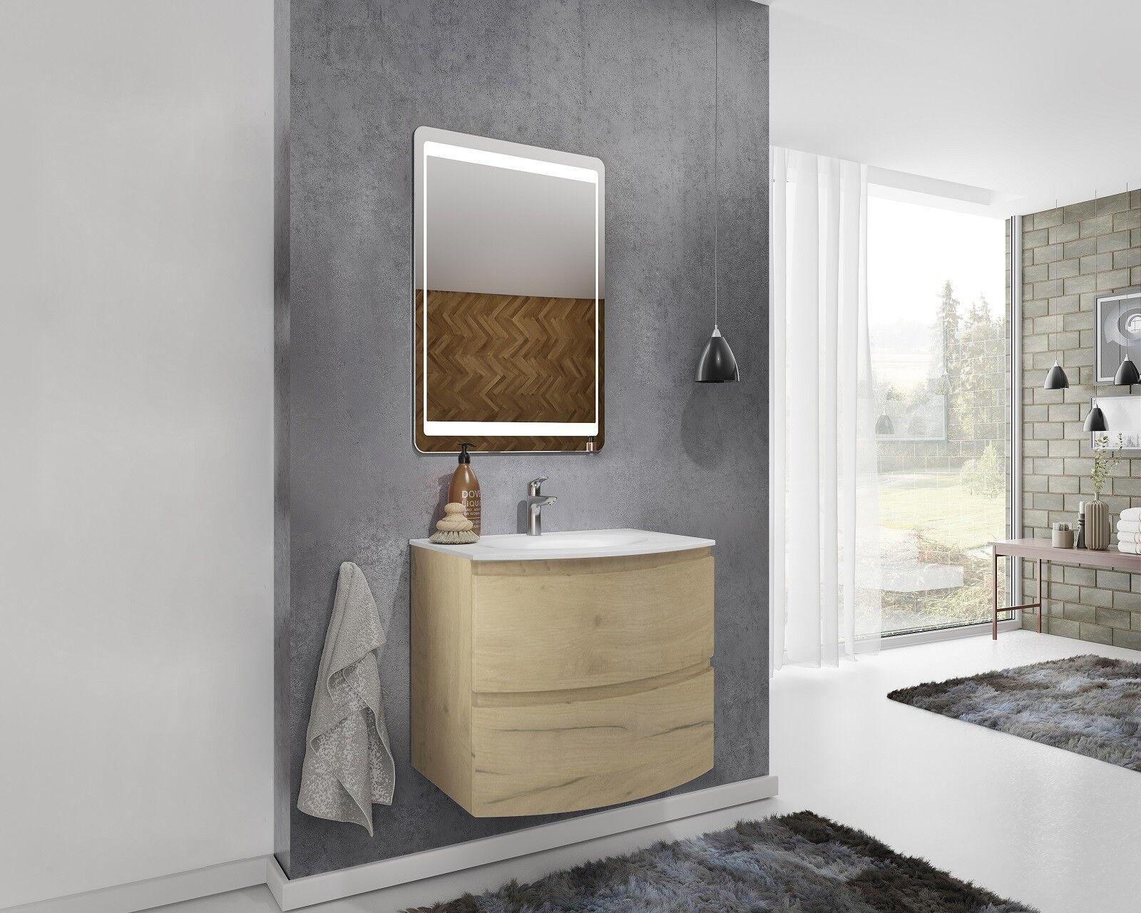 Caesaroo Mobile bagno sospeso 70 cm Atene in legno Rovere oro con Lavabo e specchio 70 cm - Standard