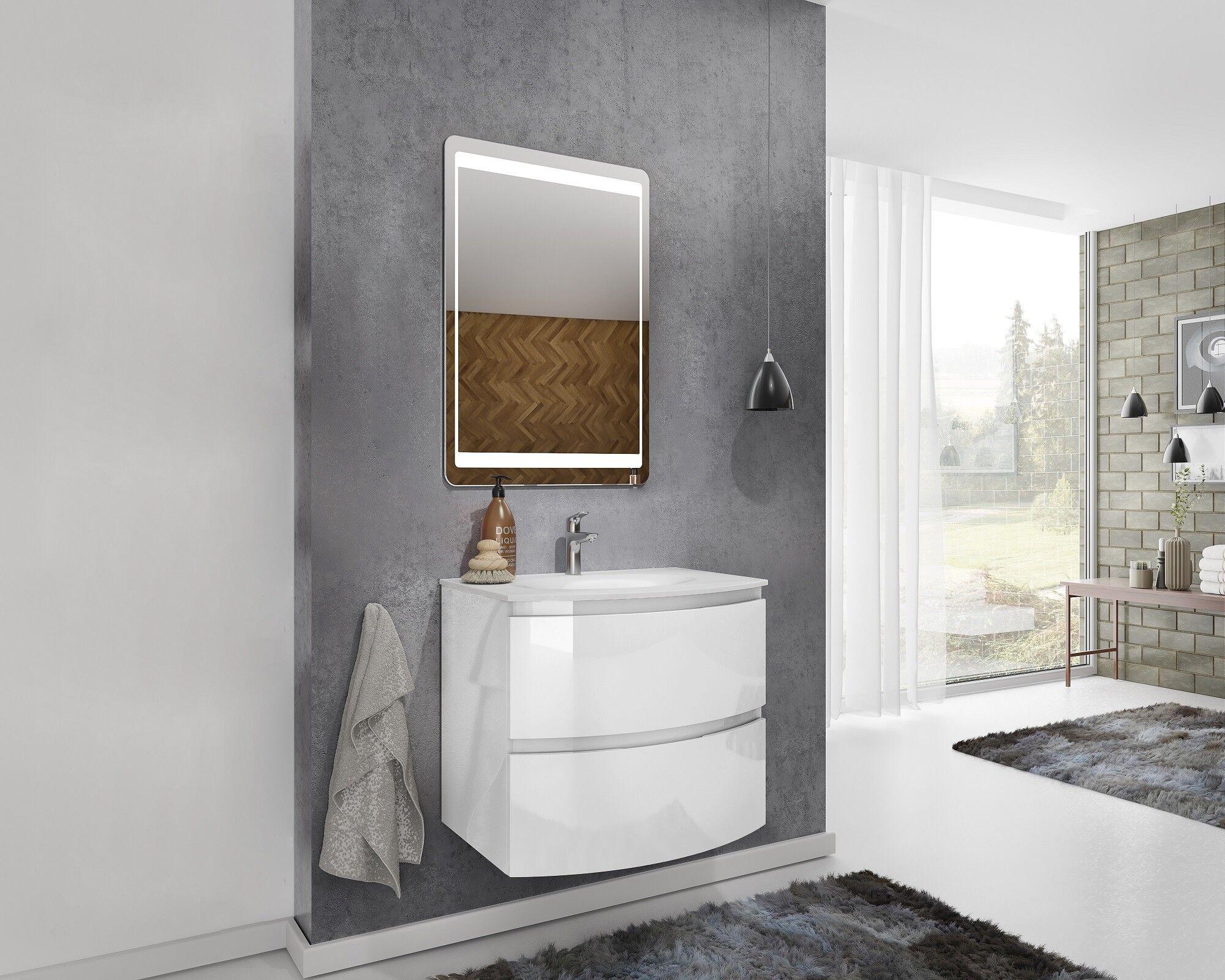 Caesaroo Mobile bagno sospeso 70 cm Atene in legno laccato Bianco lucido con Lavabo e specchio 70 cm - Standard