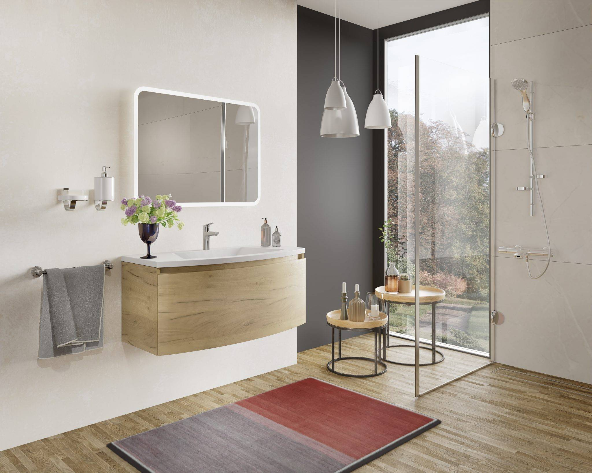 Caesaroo Mobile bagno sospeso 80 cm Venere in legno Rovere Oro con Lavabo in ceramica e specchio Con specchio