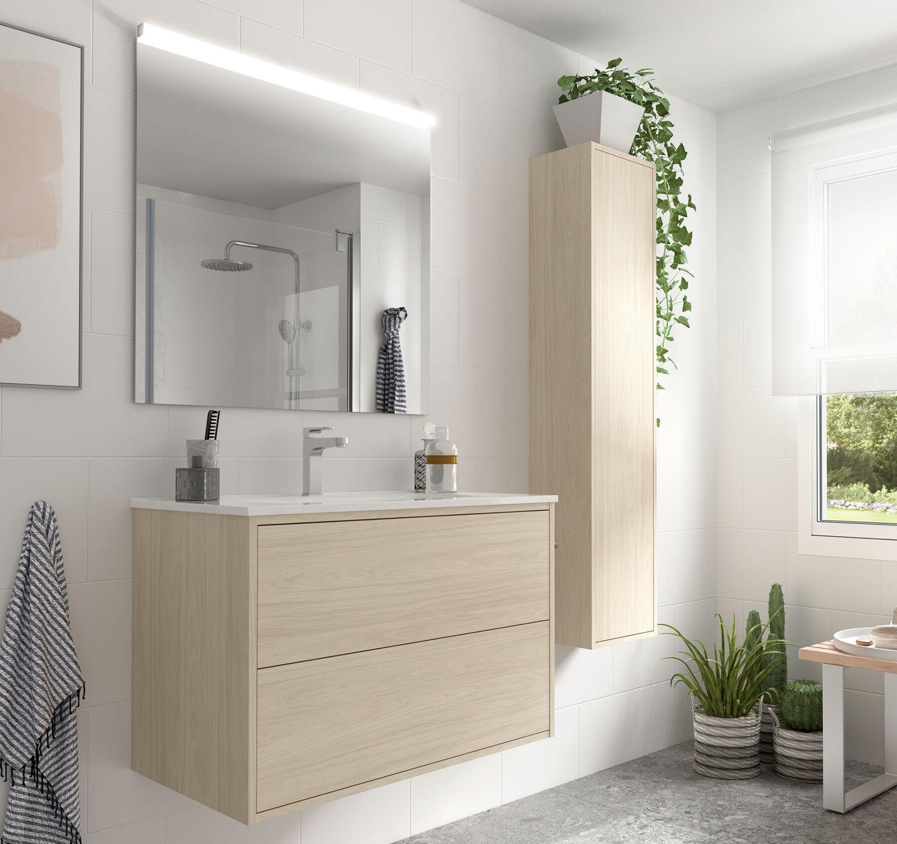 Caesaroo Mobile bagno sospeso 80 cm Ulisse in legno colore Nordik con lavabo in porcellana 80 cm - Con colonna, specchio e lampada LED