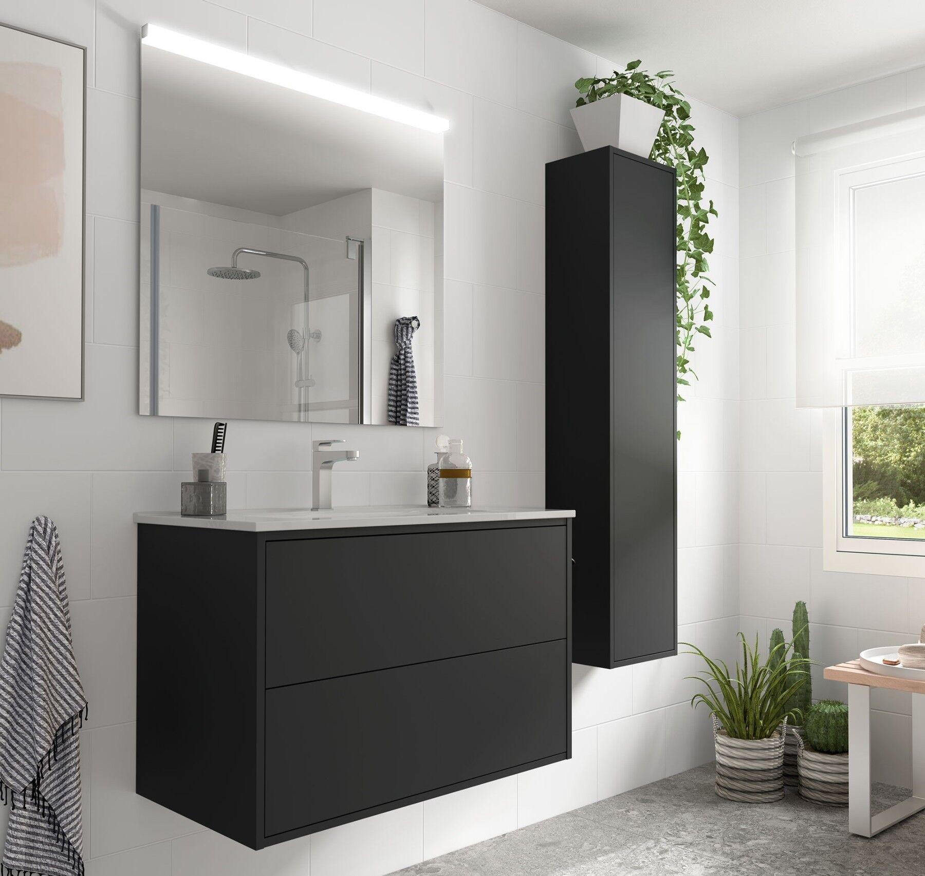 Caesaroo Mobile bagno sospeso 80 cm Ulisse in legno Nero opaco con lavabo in porcellana 80 cm - Con specchio e lampada LED