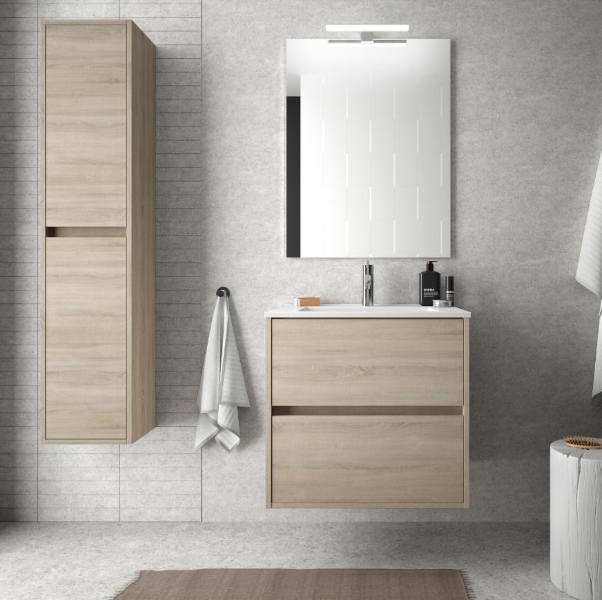 caesaroo mobile bagno sospeso 60 cm in legno marrone caledonia con lavabo in porcellana   con specchio e lampada led