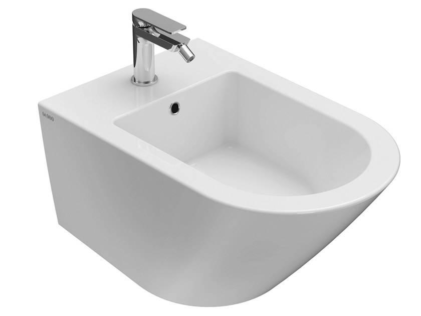 Caesaroo Bidet sospeso monoforo 36x57 cm in ceramica Globo Forty3 Bianco lucido