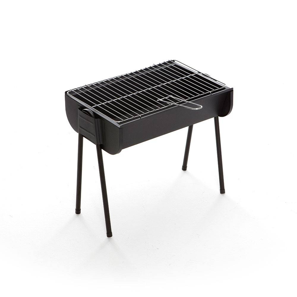 Caesaroo Barbecue a carbonella portatile Lyon con struttura in acciaio nero