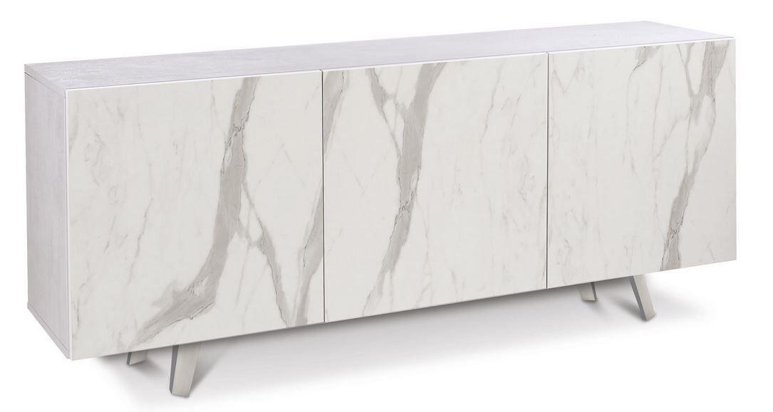 caesaroo credenza a 3 ante con apertura push - pull colore ossido bianco e marmo calacatta   bianco