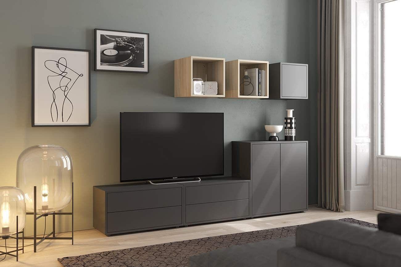 caesaroo parete attrezzata da soggiorno porta tv 225 cm grigio scuro e rovere serie lisbona   rovere e grigio