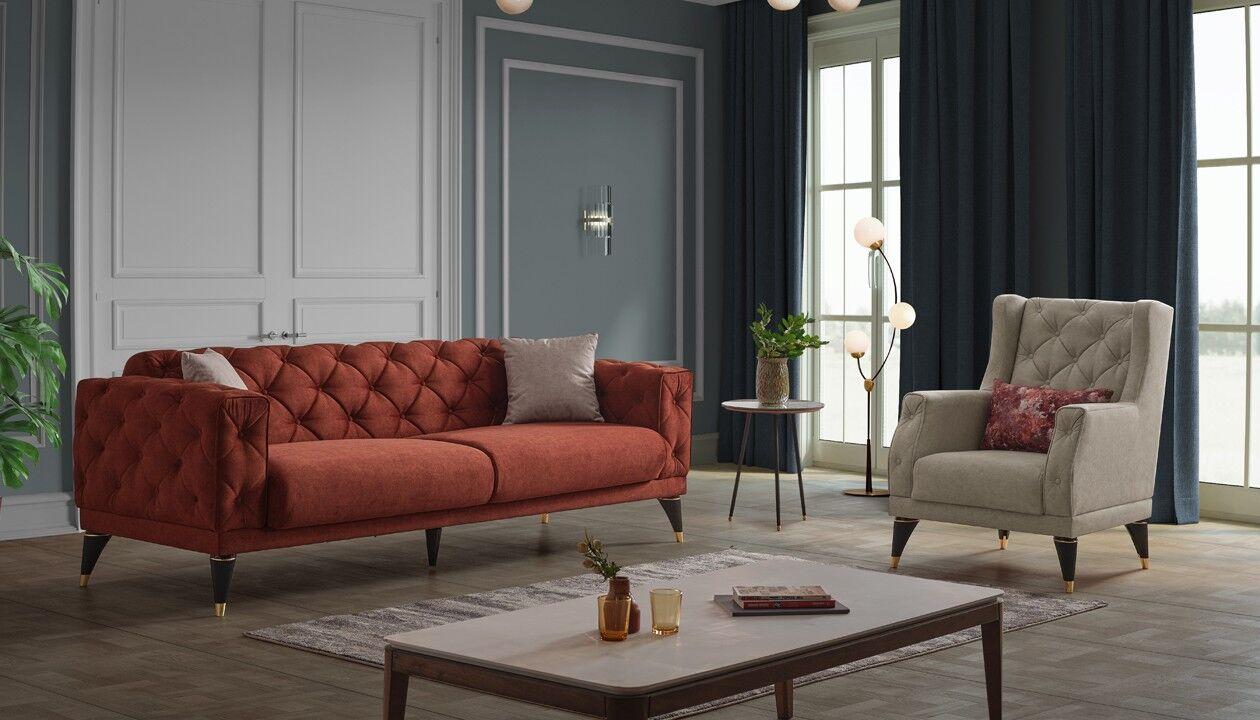 caesaroo divano due posti 175x63 cm melilla colore arancione bruciato   arancione