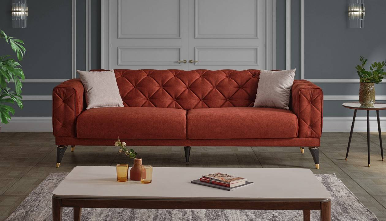 caesaroo divano tre posti 227x63 cm melilla colore arancione bruciato   arancione