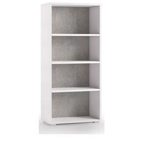 Caesaroo Libreria 130 cm Bianco frassinato e Cemento con 3 ripiani   Cemento/Bianco