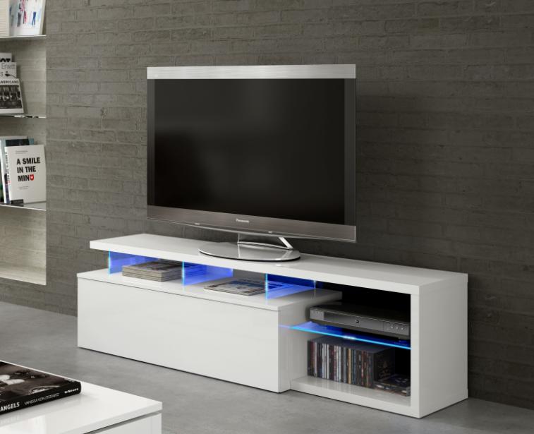 Caesaroo Mobile soggiorno porta Tv Blue tech 150 cm Bianco lucido con un'anta e luci LED Bianco