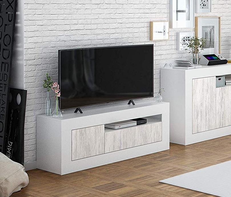 Caesaroo Mobile soggiorno porta Tv 139 cm Bianco opaco ed anticato con 2 ante Bianco