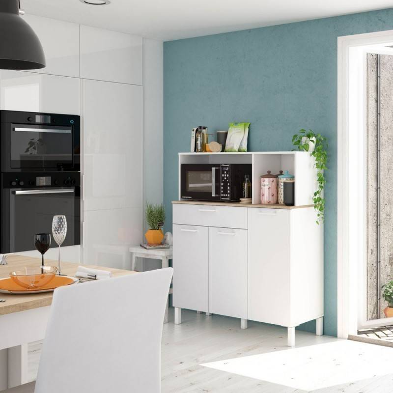 Caesaroo Mobile cucina 108x40x126 cm Bianco opaco e Rovere canadese Bianco
