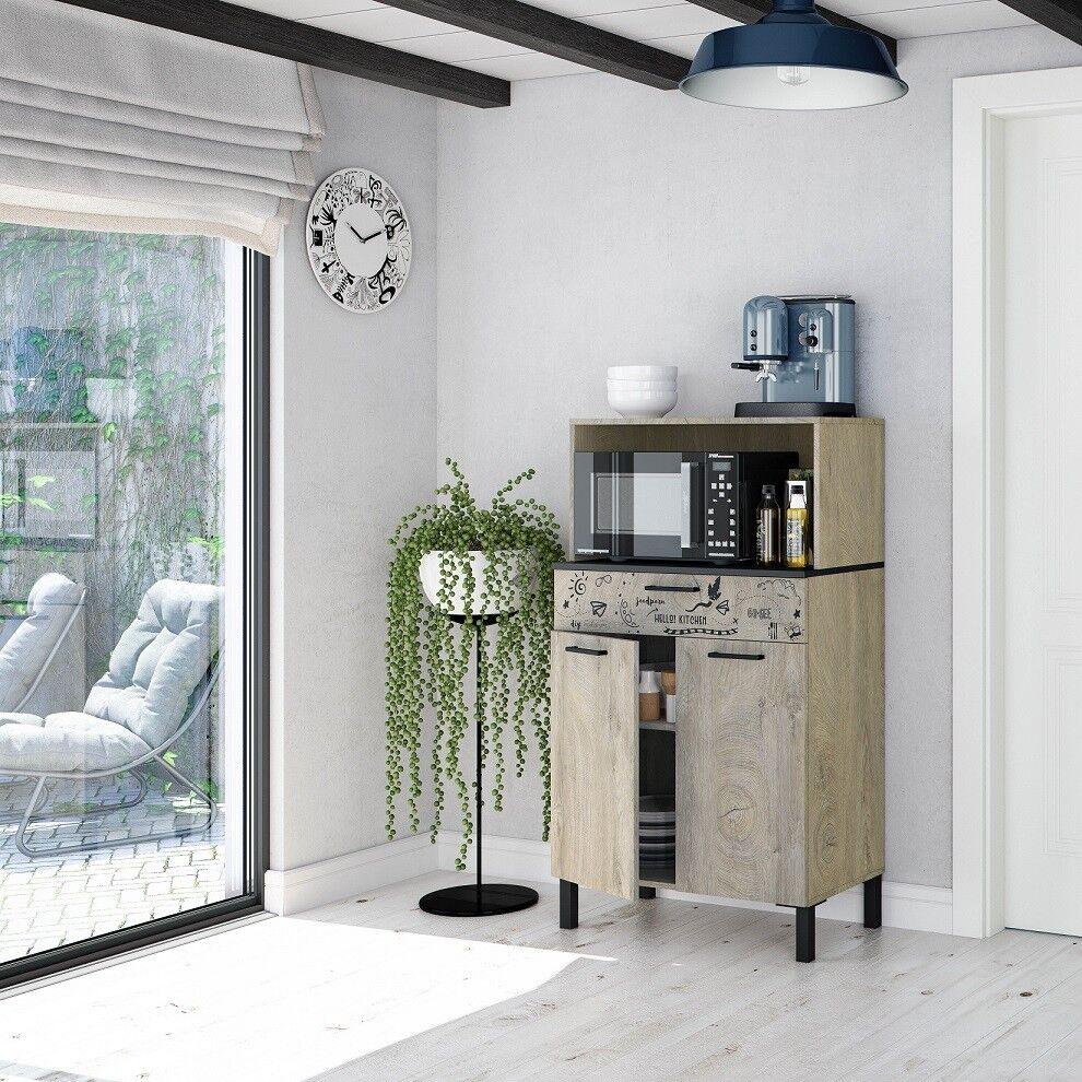 Caesaroo Mobile cucina 72x40x126 cm Rovere e Grigio antracite Rovere e Grigio