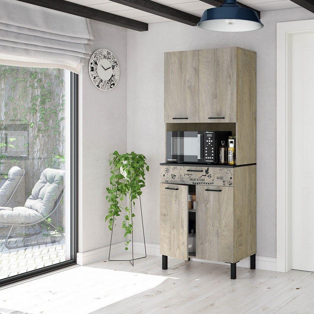 Caesaroo Mobile cucina 72x40x186 cm Rovere e Grigio antracite Rovere e Grigio