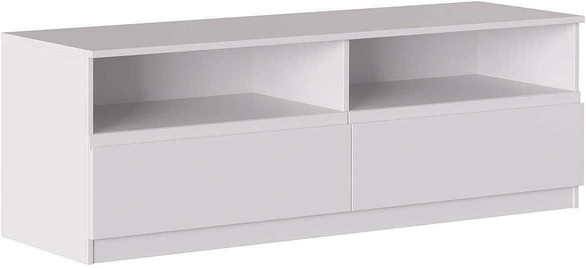 Caesaroo Mobile soggiorno porta Tv 160 cm Bianco opaco con due cassetti e due vani serie Oslo Bianco
