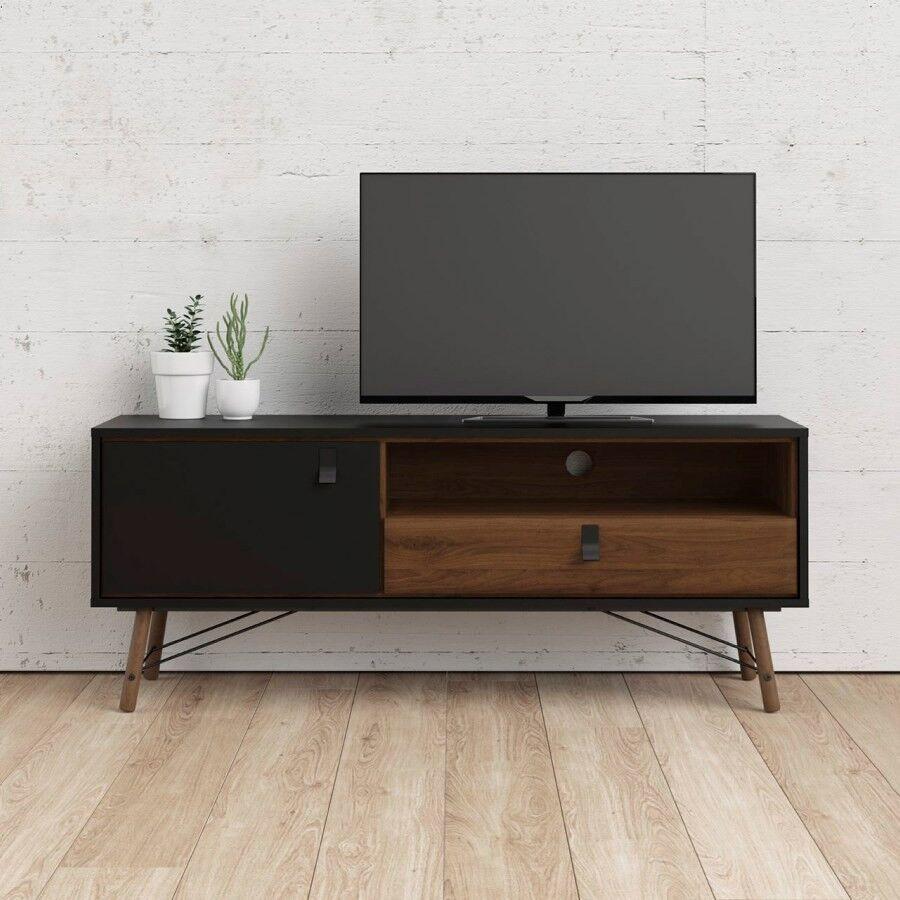 Caesaroo Mobile soggiorno porta Tv 150 cm Nero opaco e Noce Nero e Noce