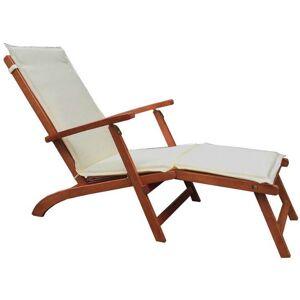 Caesaroo Chaise longue con struttura in legno   Ecru