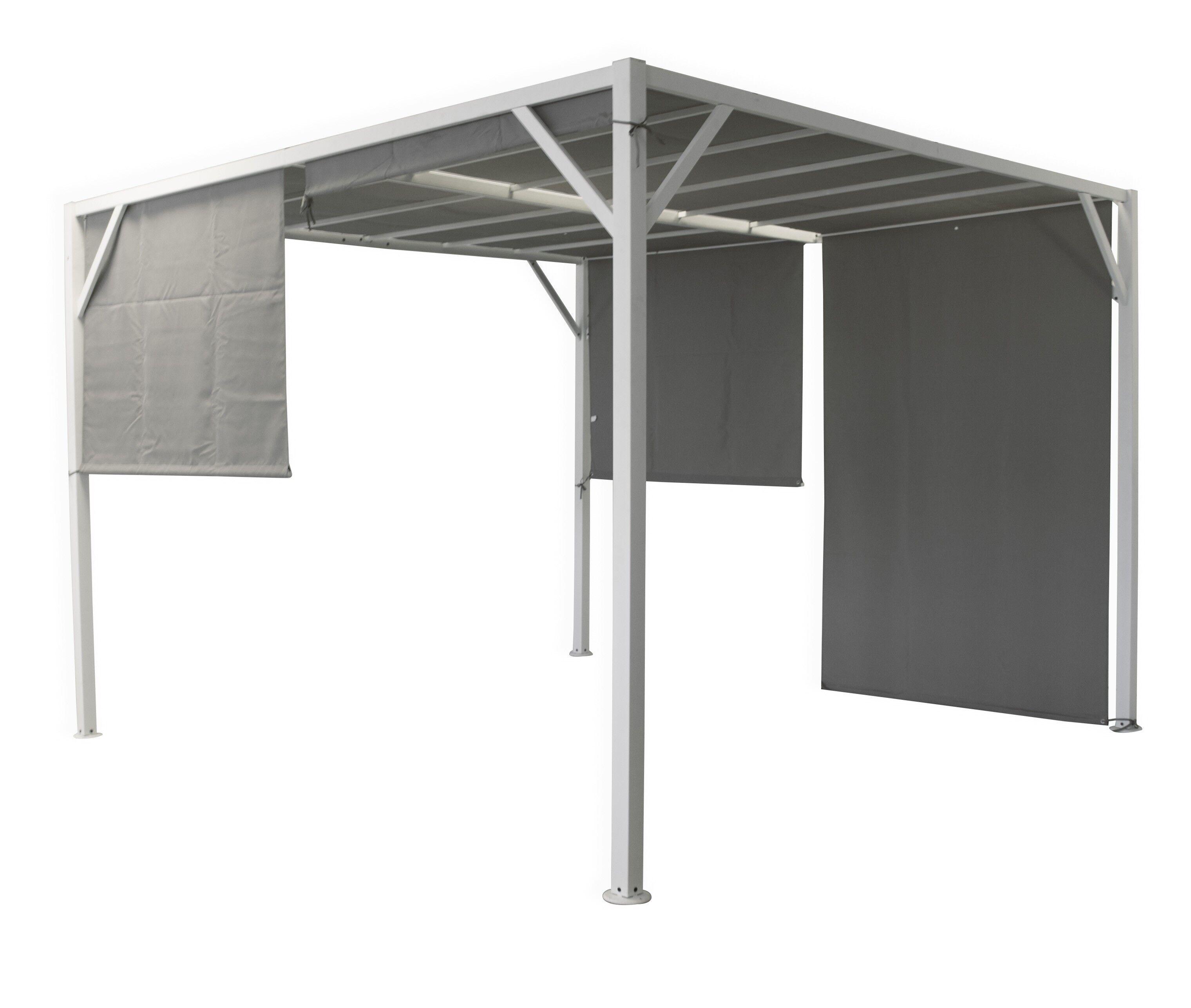 Caesaroo Gazebo pergola 3x3 m in metallo verniciato con tende laterali Metallo
