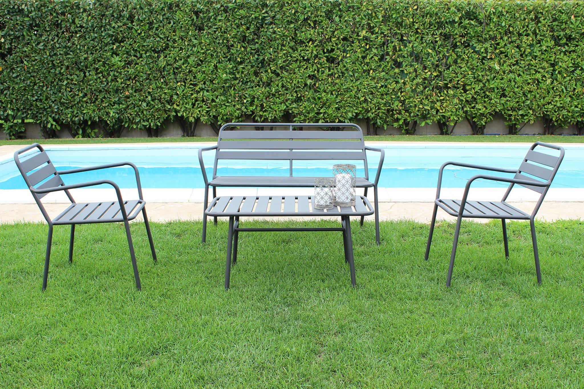 Caesaroo Set da giardino Sofia con struttura in ferro verniciato grigio antracite grigio