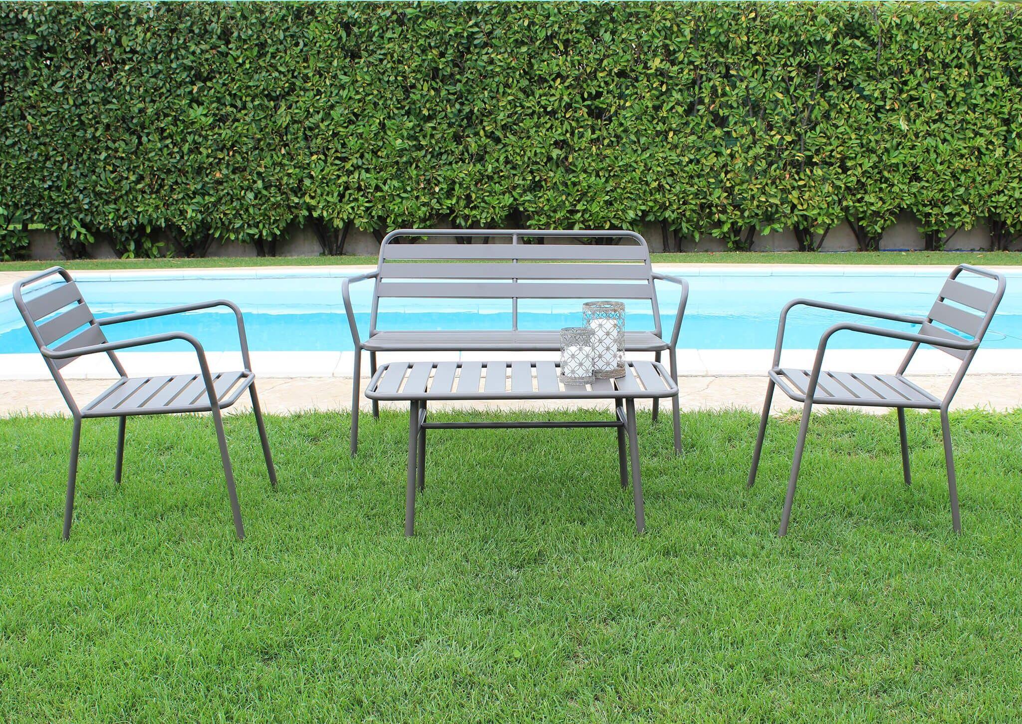 Caesaroo Set da giardino Sofia con struttura in ferro verniciato Taupe Metallo