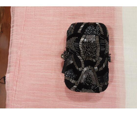 old&new borsetta cerimonia nero grigio perline tonde e a tronchetto
