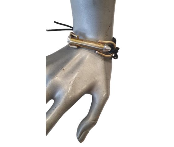 Bracciale Proiettile Bronzo E Pelle