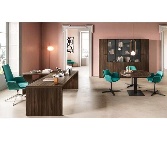 scrivania direzionale con due gonne e allungo fianco legno nobilitato melaminico