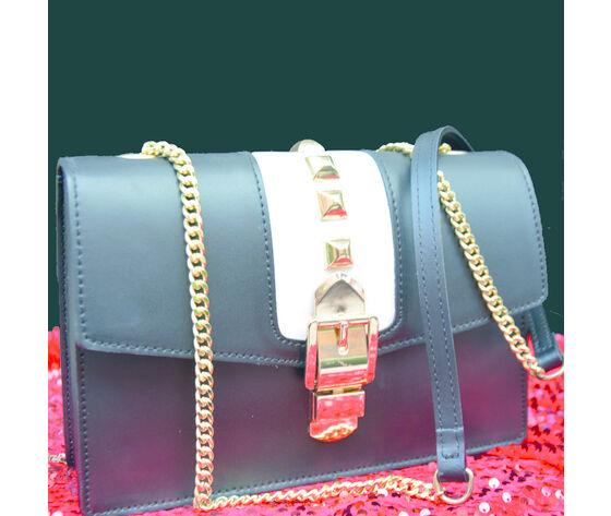 charlie borsa in pelle nera con borchie