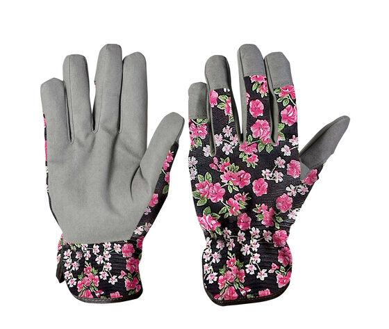 guanti da giardino in cotone ed ecopelle per donna