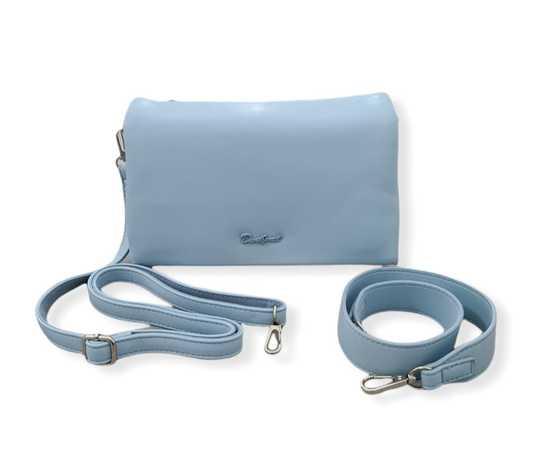 david jones paris borsa donna  azzurro pastello manico tracolla chiusura zip