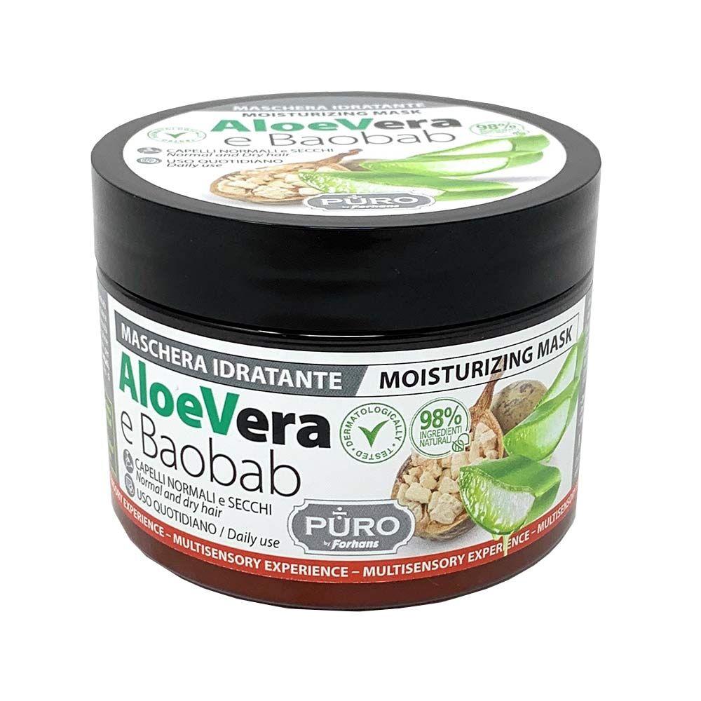 puro aloe vera e baobab - maschera idratante per capelli normali e secchi, 250ml