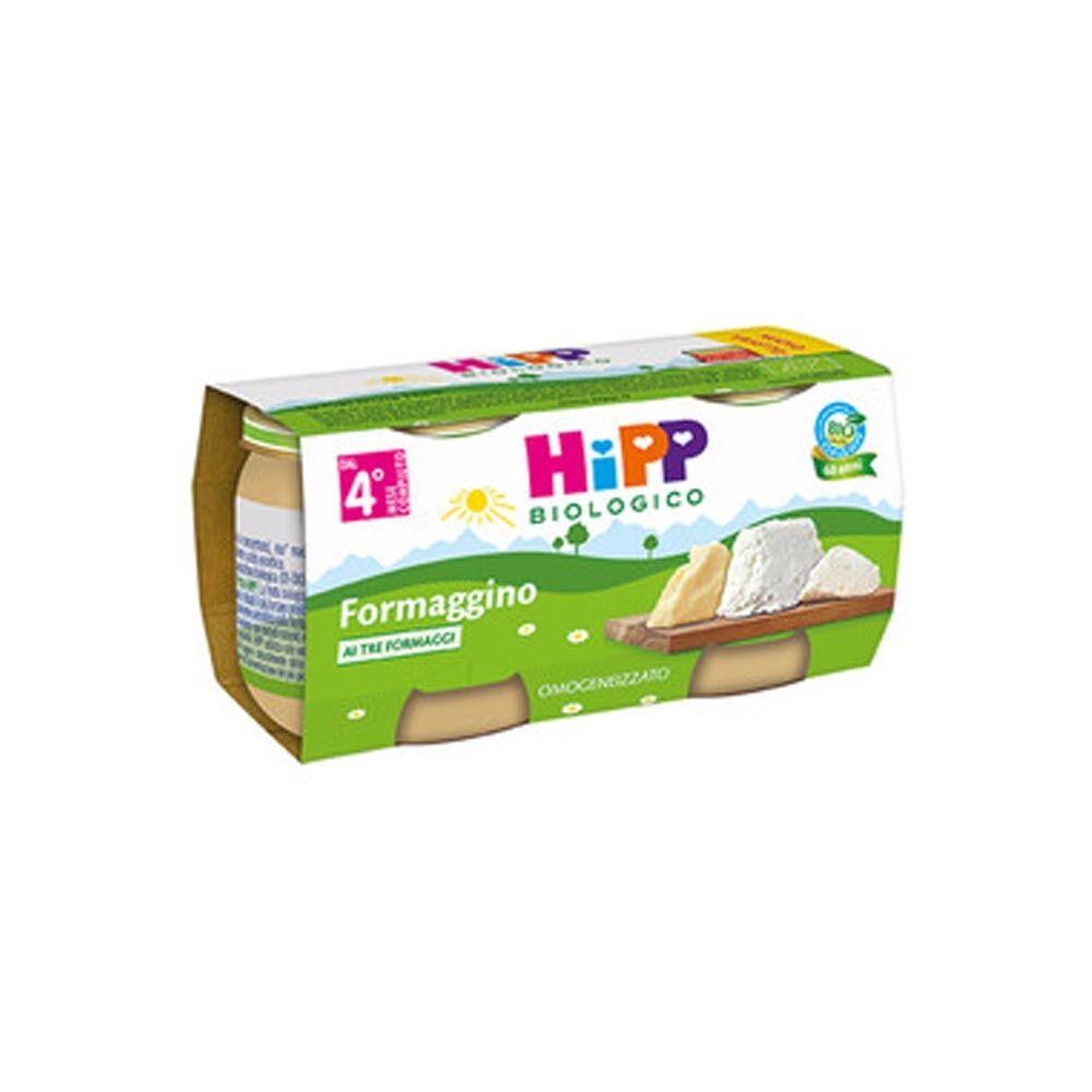 HiPP Omogeneizzato Bio Formaggino ai tre formaggi con Parmigiano 4+ Mesi, 2 x80g