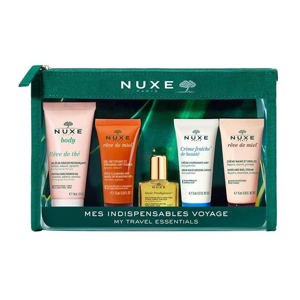 nuxe trousse voyage gel doccia + detergente viso + olio + crema viso + mani
