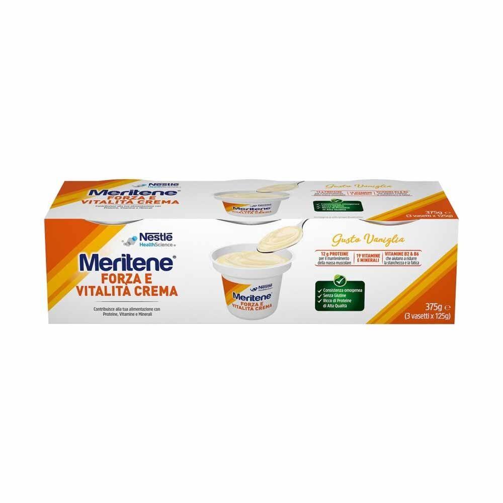 meritene forza & vitalità - crema vaniglia proteine vitamine minerali, 3x125g