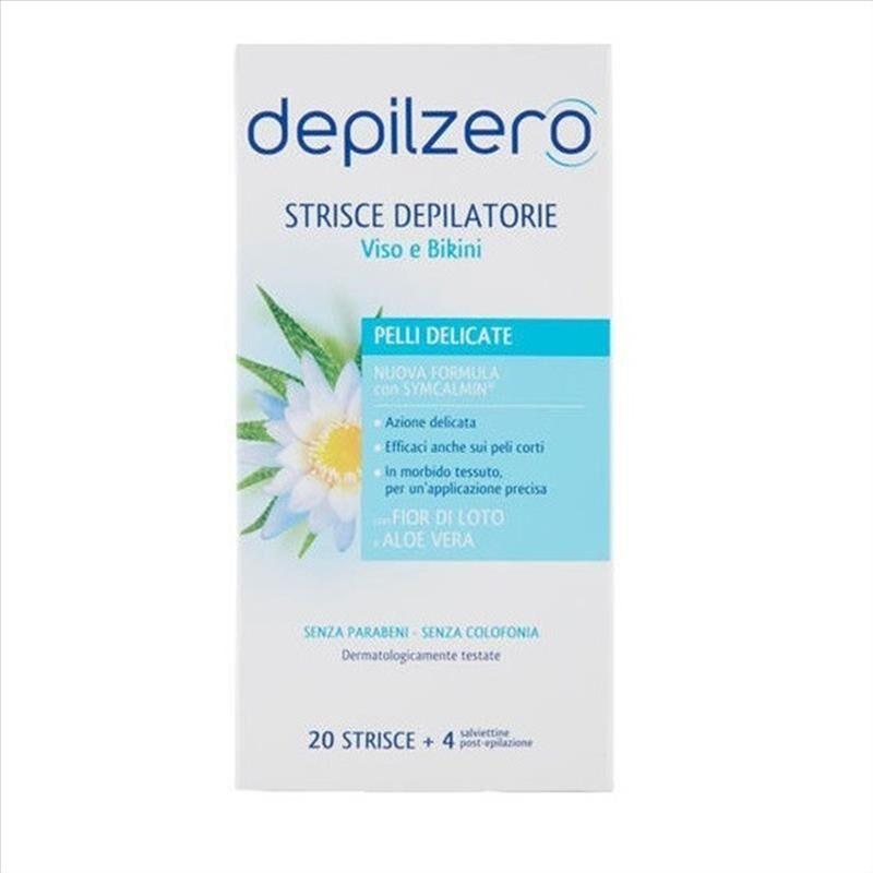 Depilzero Strisce Depilatorie Viso E Bikini, 20 Pezzi