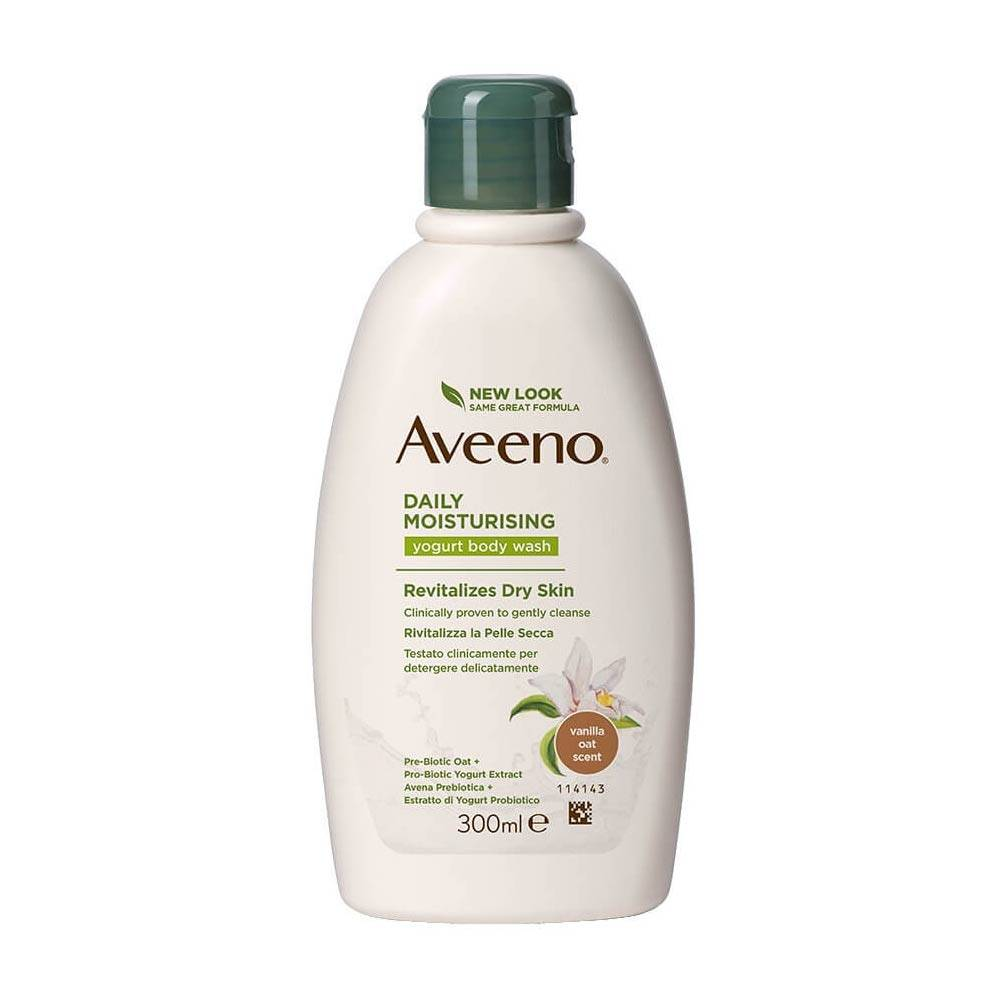 Aveeno Daily Moisturising - Bagno Doccia allo Yogurt Vaniglia e Avena, 300ml