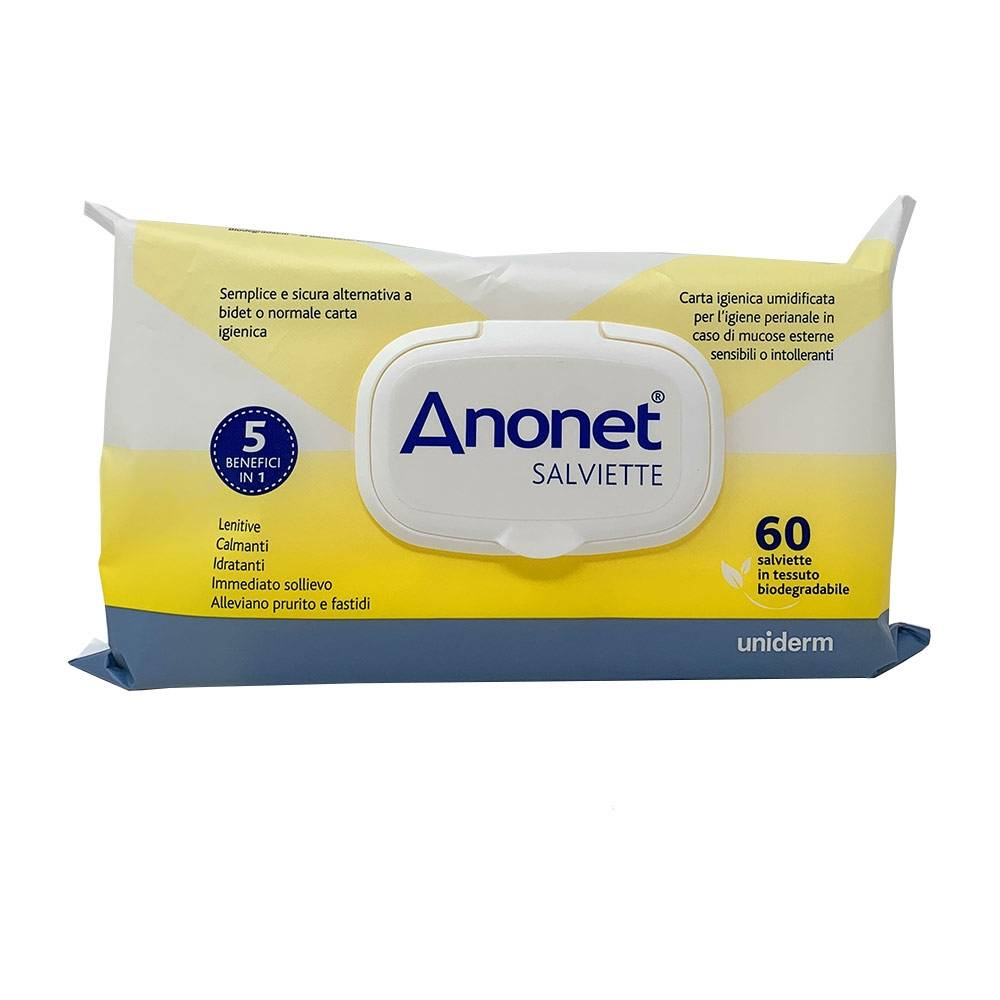 Uniderm Anonet - Salviette Carta Igienica Umidificata, 60 Salviette