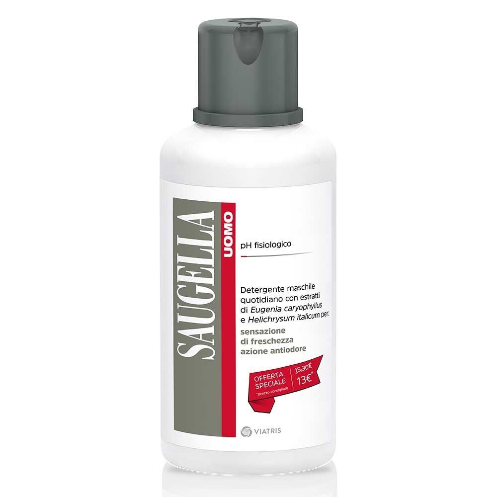 Saugella Uomo - Detergente Intimo pH Fisiologico con Garofano e Elicriso, 500ml