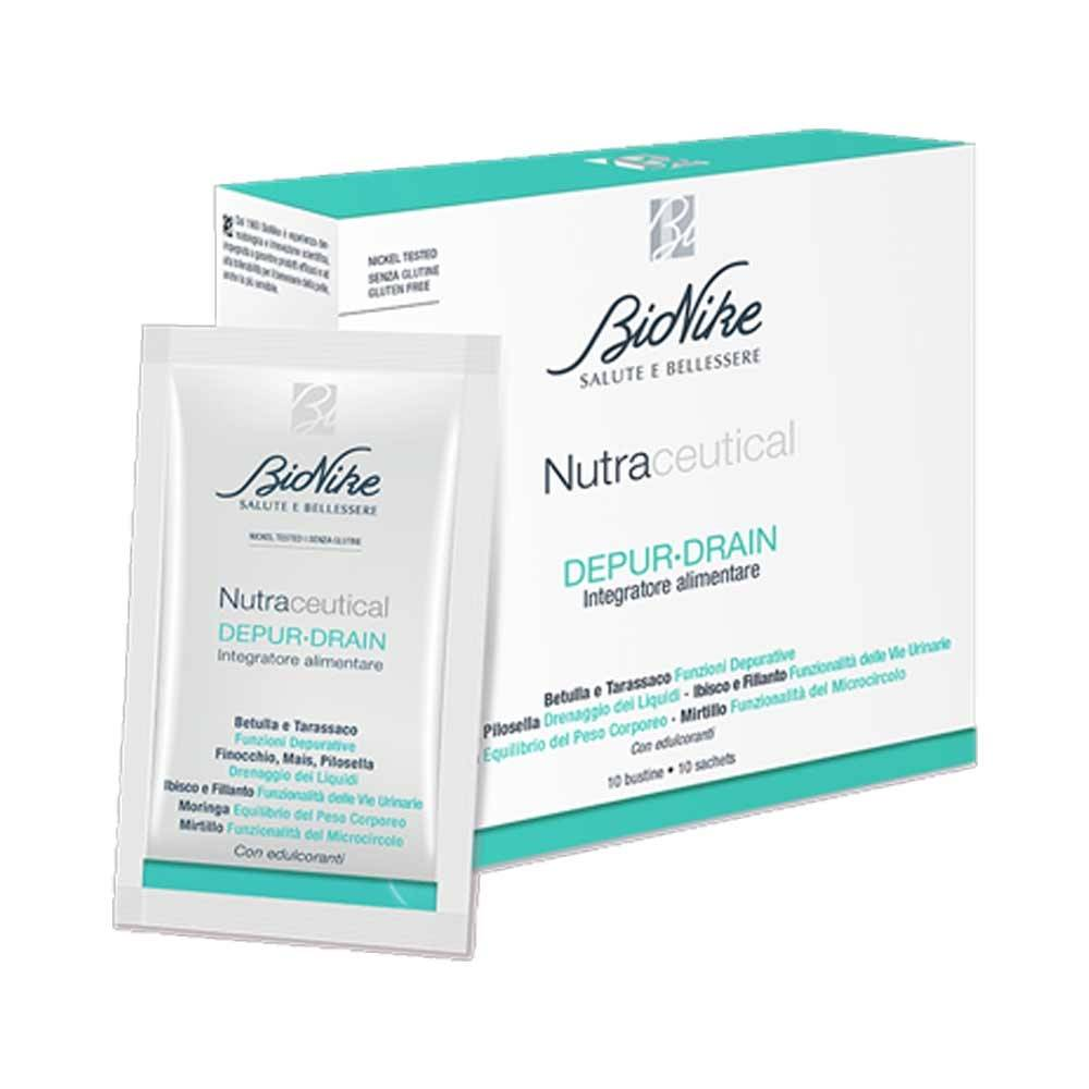 bionike nutraceutical - depurdrain integratore anticellulite, 10 bustine