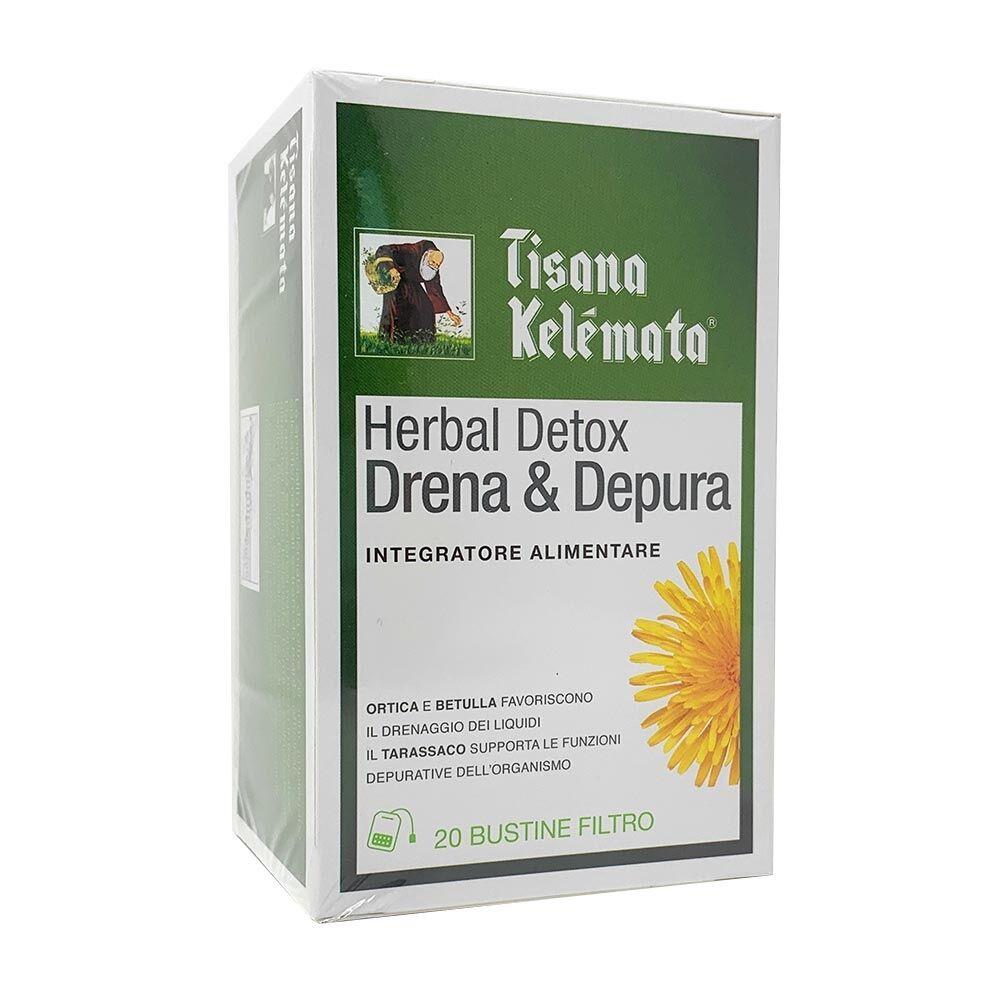 kelemata tisana herbal detox drena & depura integratore alimentare, 20 bustine