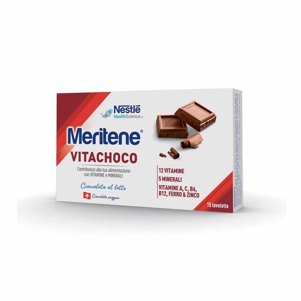 Meritene Vitachoco Latte Integratore Vitamine Minerali in Cioccolato, 15 pezzi