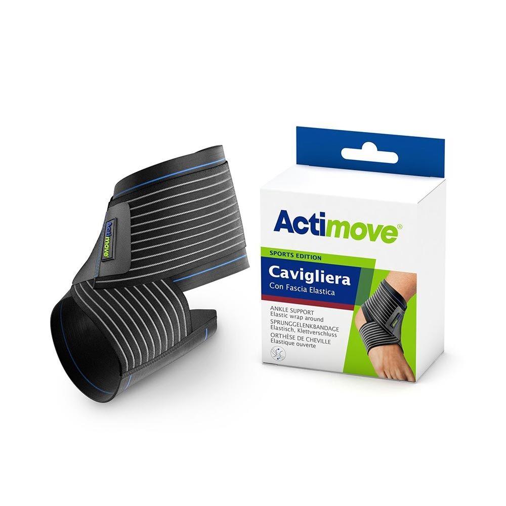 actimove sports - cavigliera con fascia elastica taglia l nera, 1 cavigliera