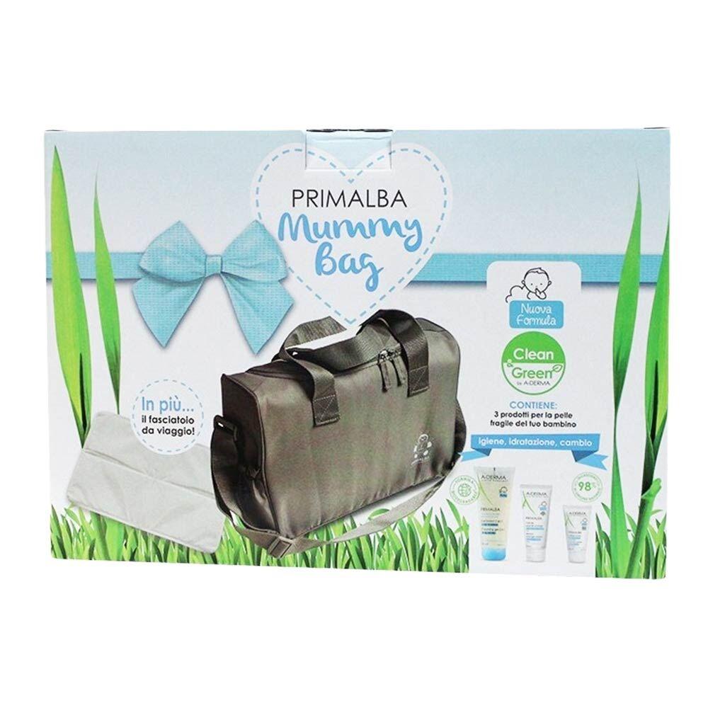 a-derma primalba mummy bag azzurra 3 prodotti + fasciatoio da viaggio