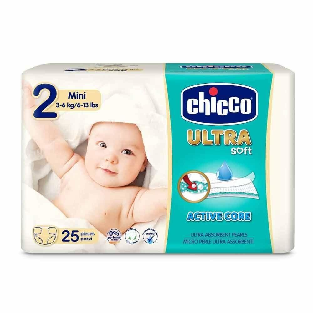 Chicco Pannolini Ultra Soft Mini Taglia 2 per Neonati da 0+ Mesi, 25 Pezzi