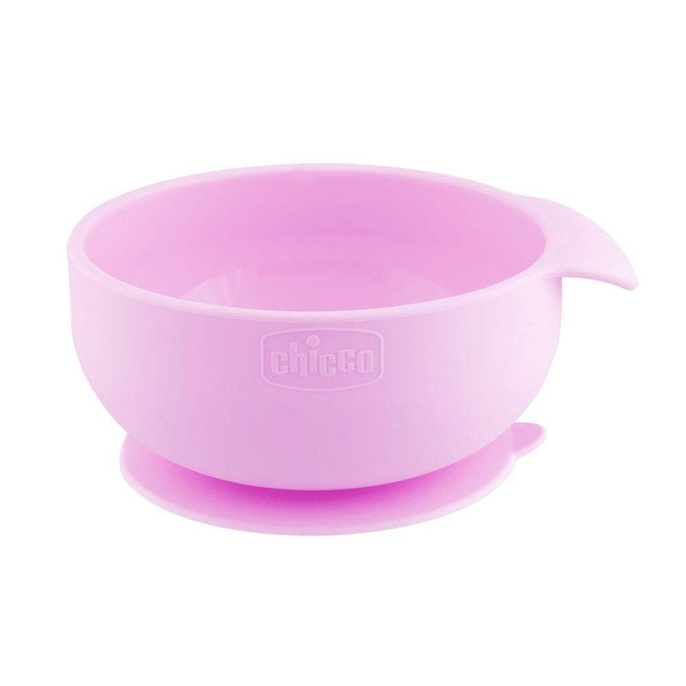 Chicco Ciotola in Silicone per Alimenti Semiliquidi Colore Rosa, 1 Pezzo