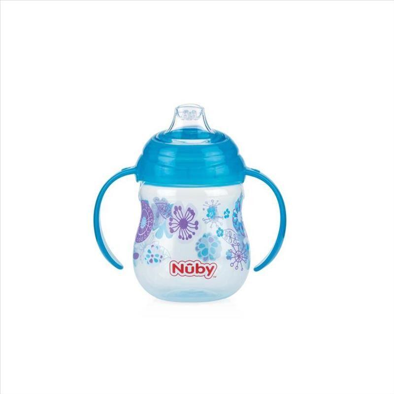 Nuby Tazza No Spill Designer Con Manici E Beccuccio Silicone 270 ml 6m+ 1 Pezzo